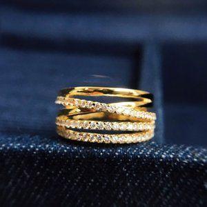 ☠APM Monaco Multi-Hoop Ring - Yellow Silver